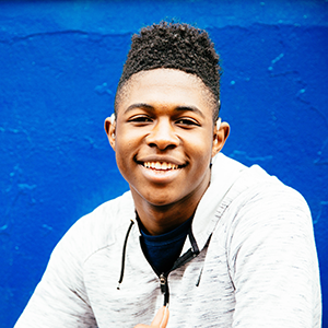 Deaf young man smiling